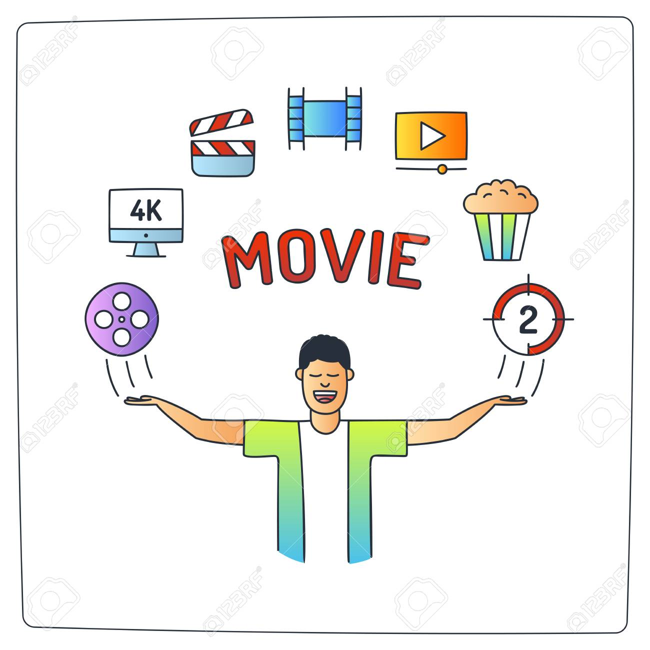 Character With His Hands Up And Video Production Cinema Movie
