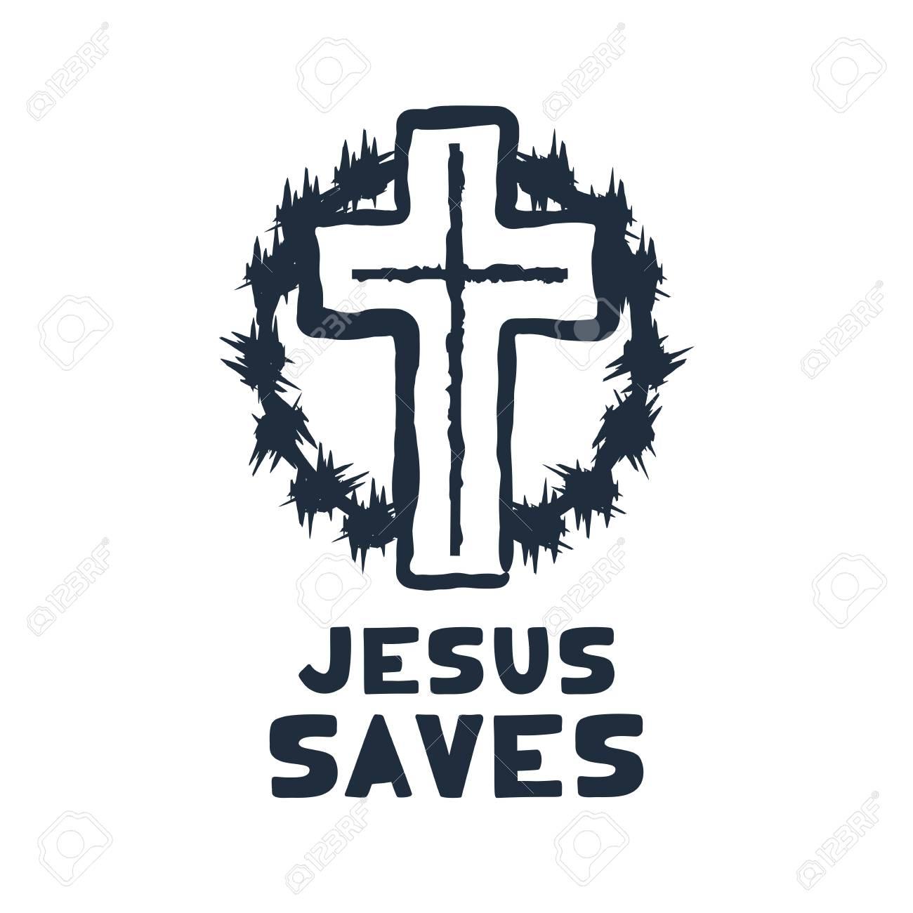 Jesus saves religious lettering brush illustration art design for Christian Bible church t-shirt, print, postcard. - 126057710