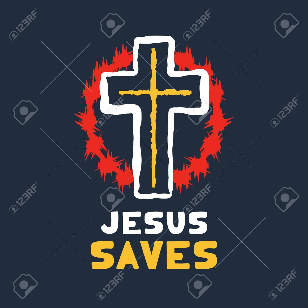 Jesus saves religious lettering brush illustration art design for Christian Bible church t-shirt, print, postcard. - 126057719