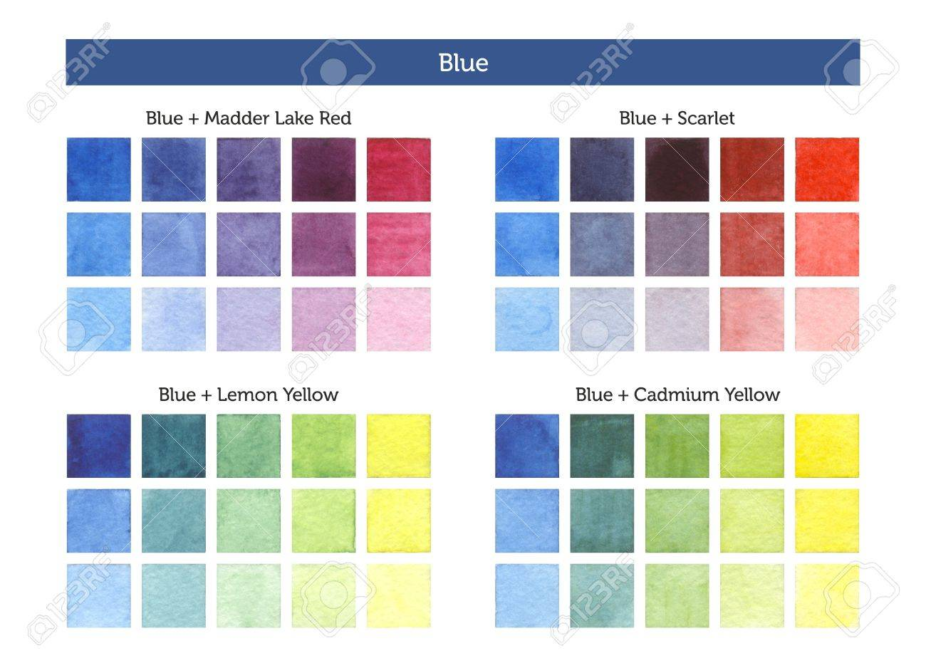 Color Chart Of Blue Mixing With Others Primary Colors Stock Photo