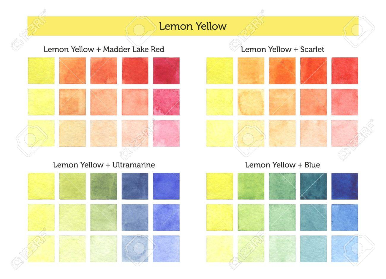 Color chart of lemon yellow mixing with others primary colors color chart of lemon yellow mixing with others primary colors stock photo 54419738 nvjuhfo Gallery