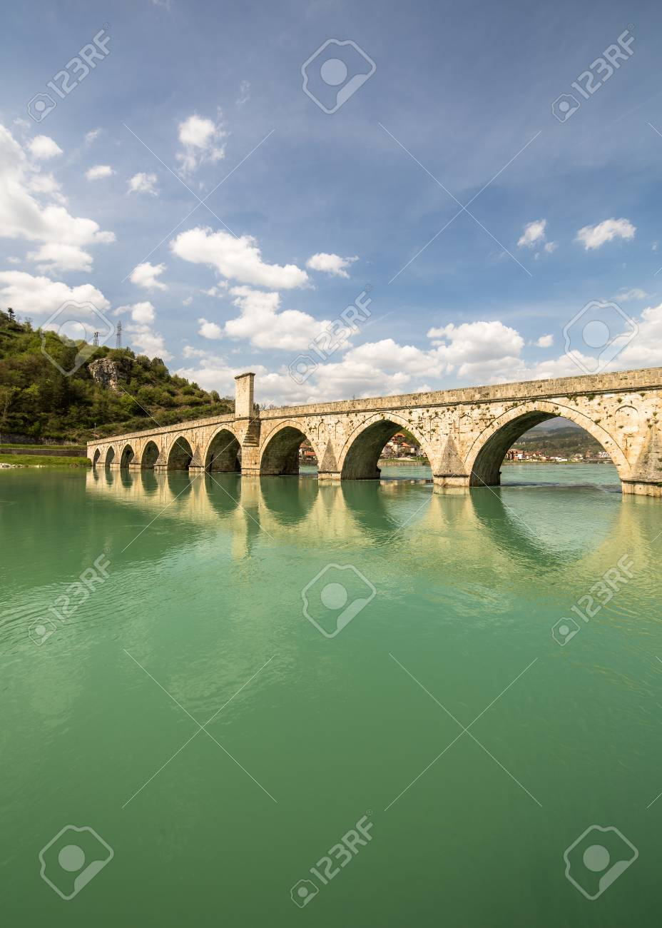 Mehmed Pasa Sokolovic Bridge in Visegrad on Drina River - 125698498