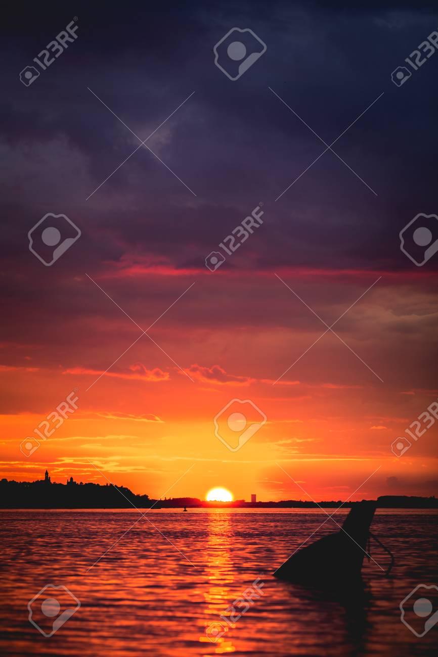 Sunset on Danube river in Belgrade, Serbia - 125699056