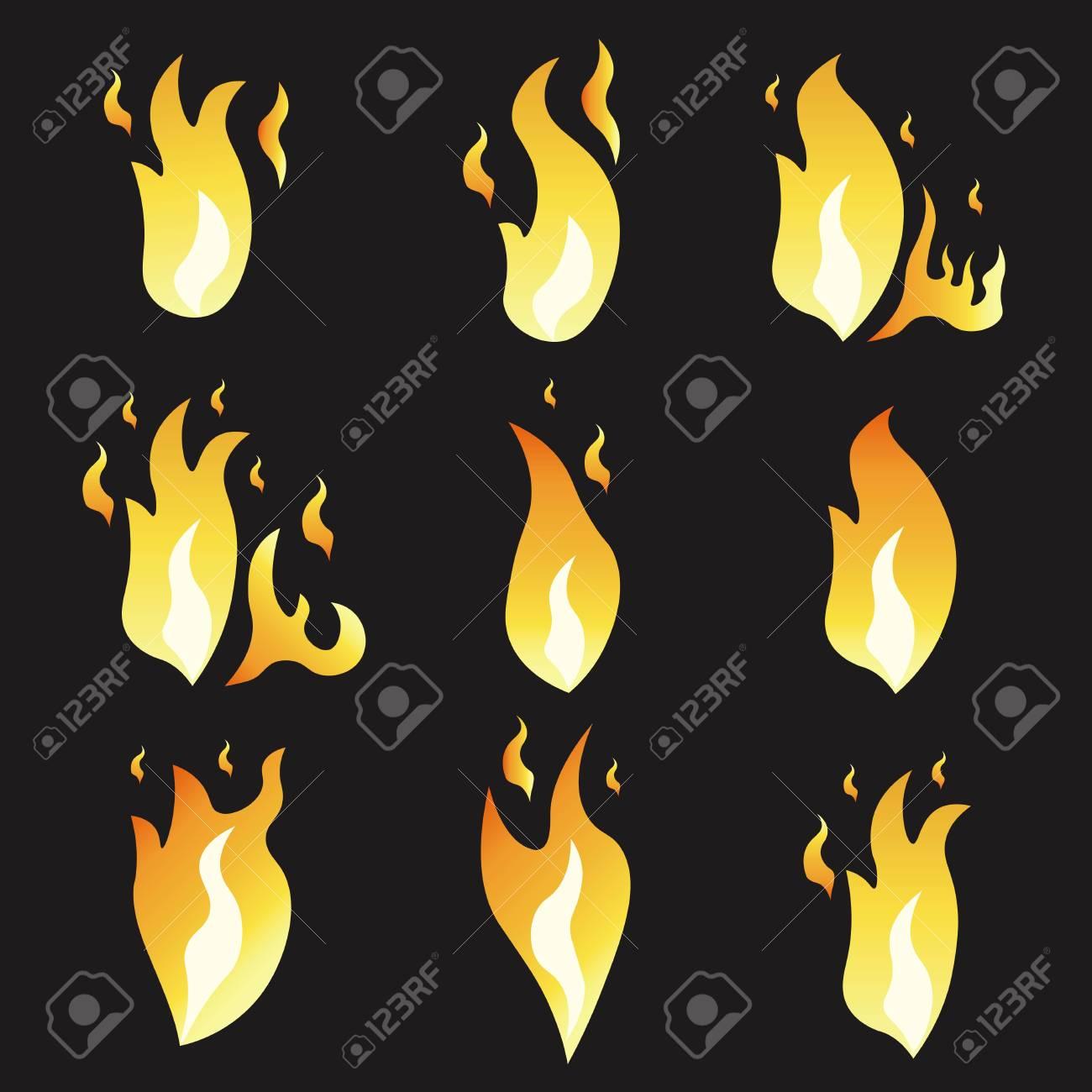 Conjunto De Fuego De Animación E Ilustración De Varios Incendios ...