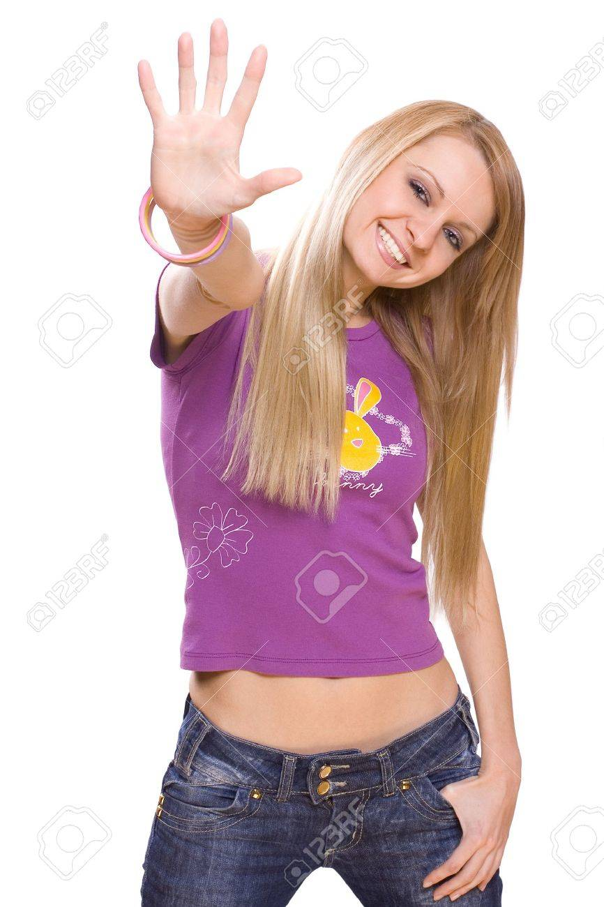 young woman on a white background give a five - 4134821