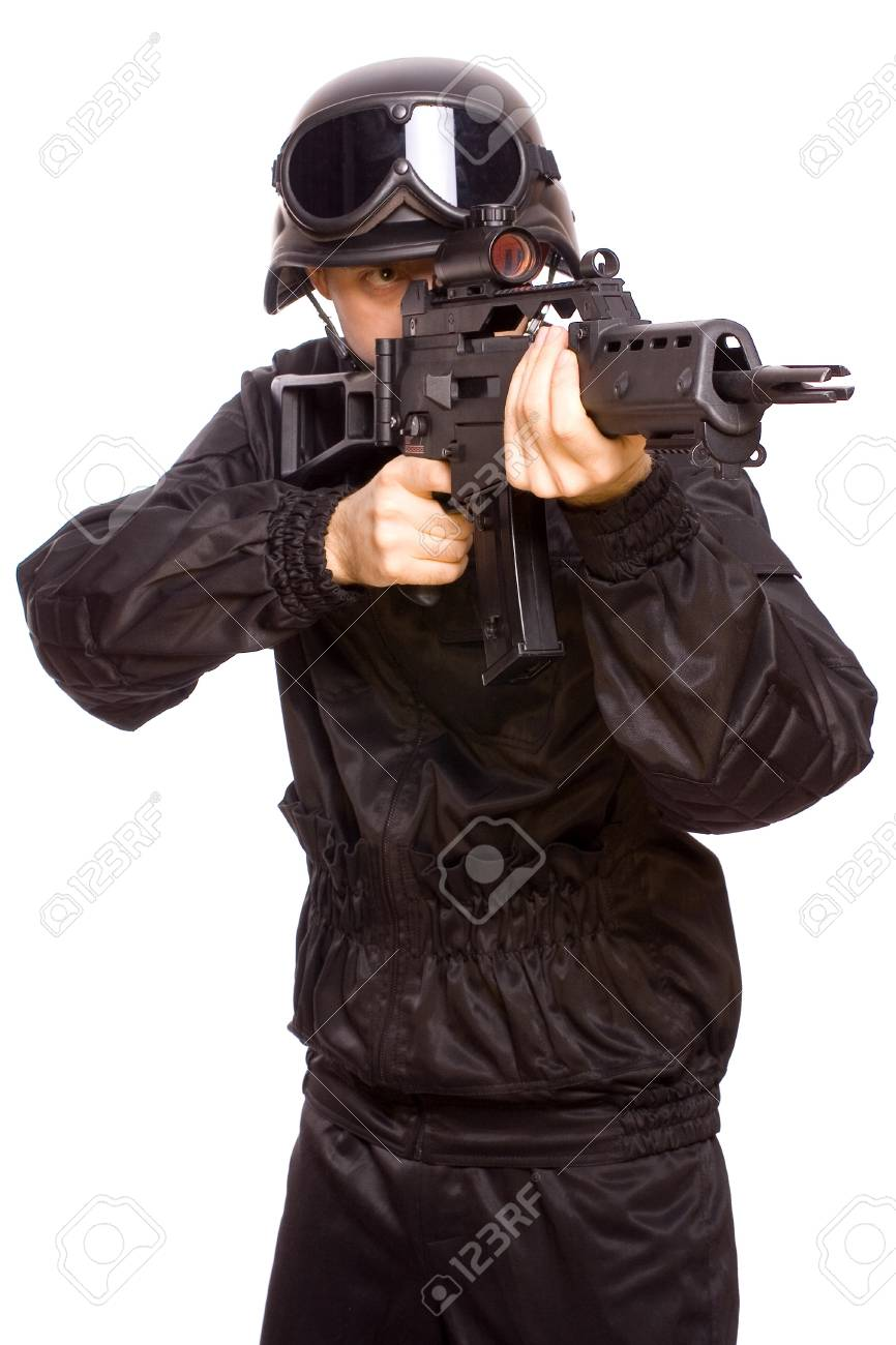 one soldier with the gun in the hands on a white background - 4249776