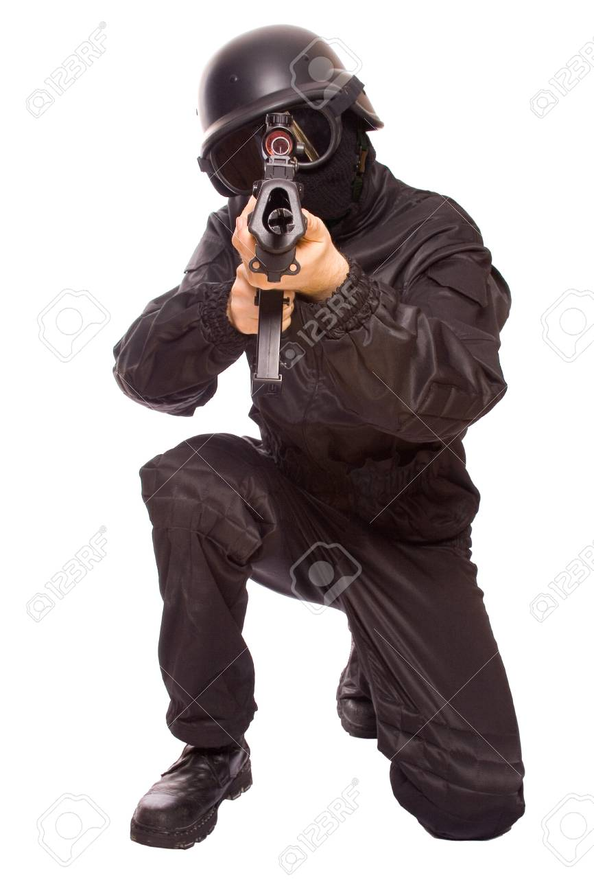 one soldier with the gun in the hands on a white background - 4249774