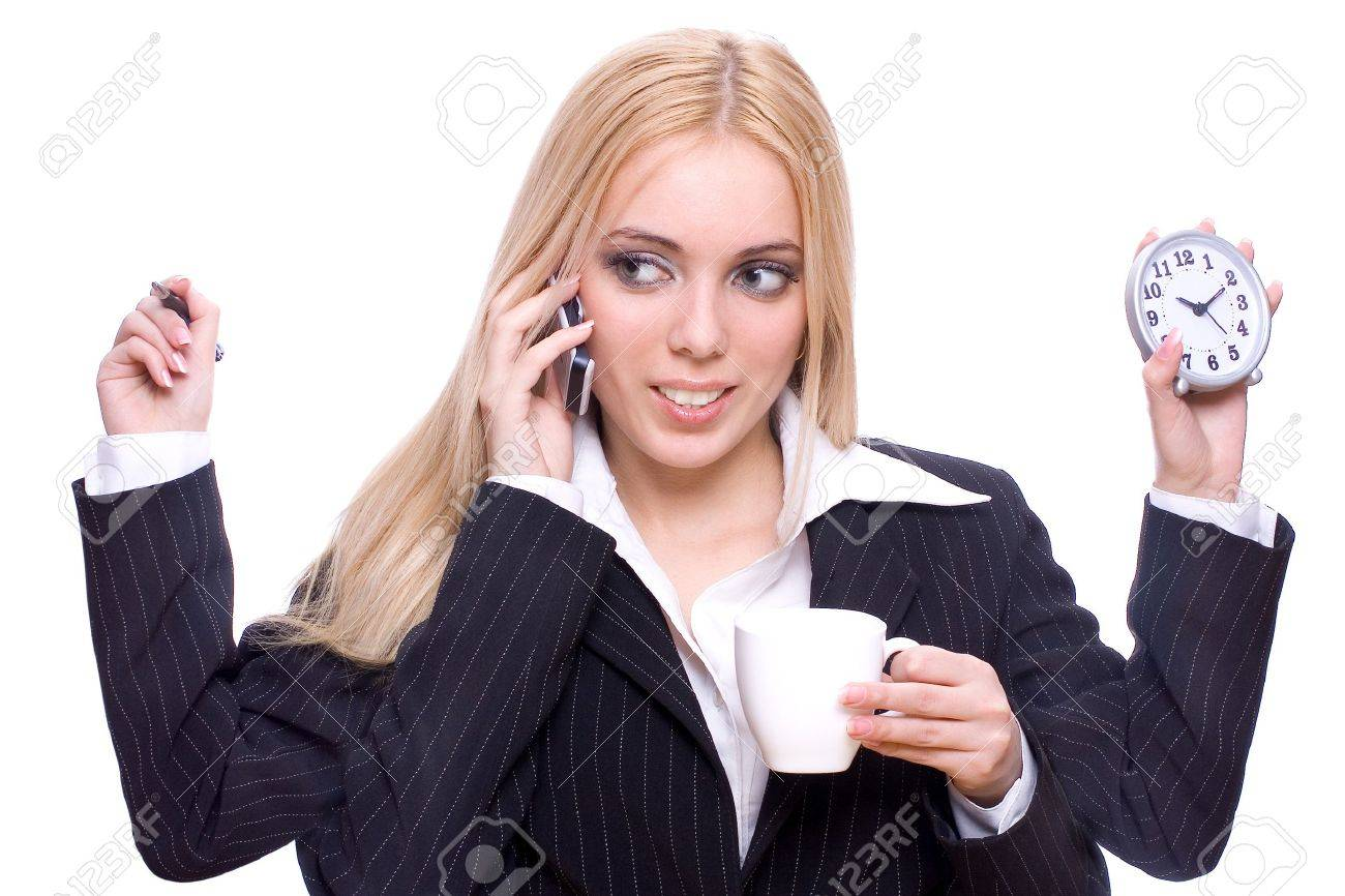 young woman business with cup of tea, clock, pen and mobile on a white background - 4367573