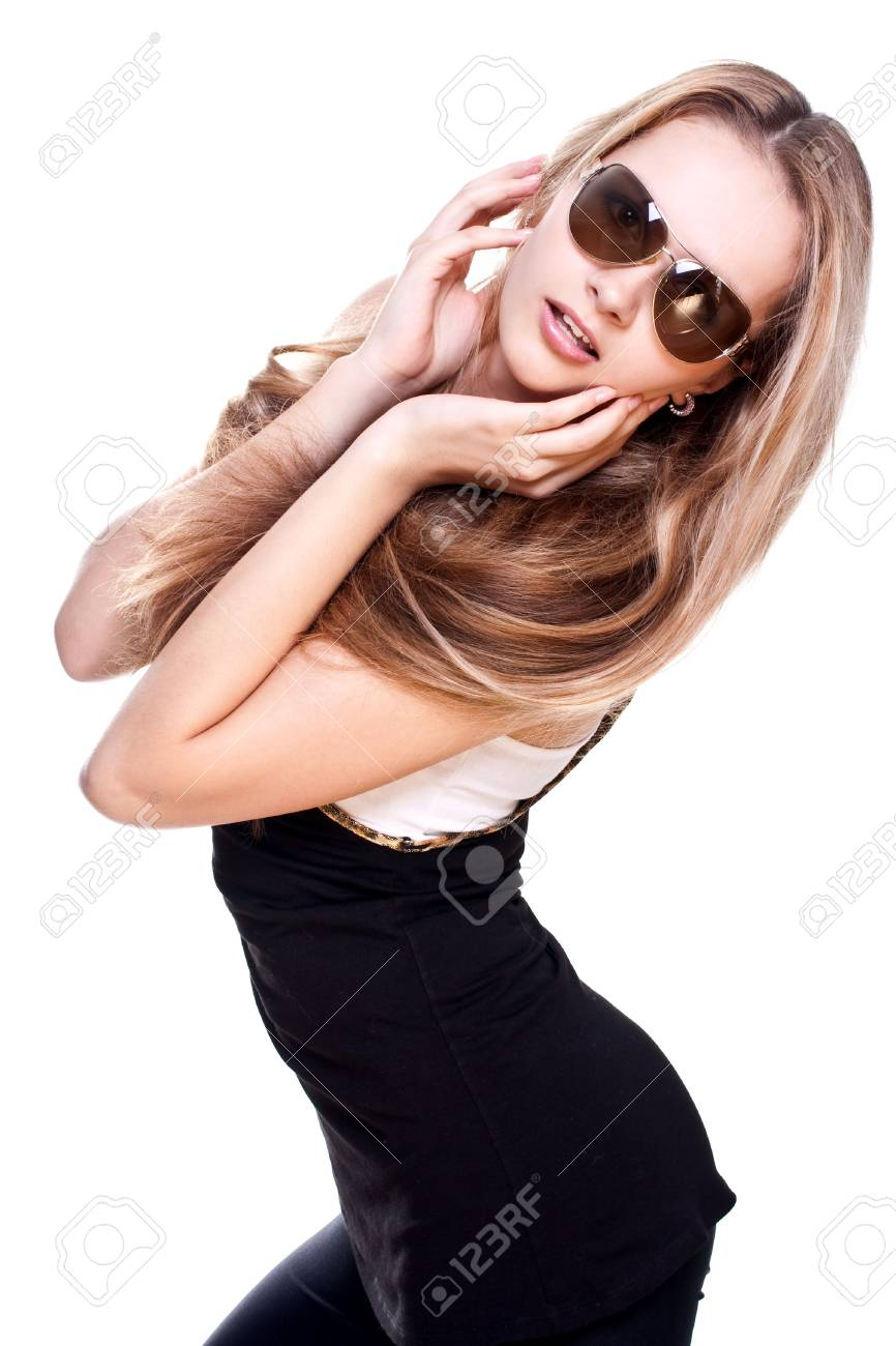 beautiful women in a suit with the glasses on a white background isolated - 4971634