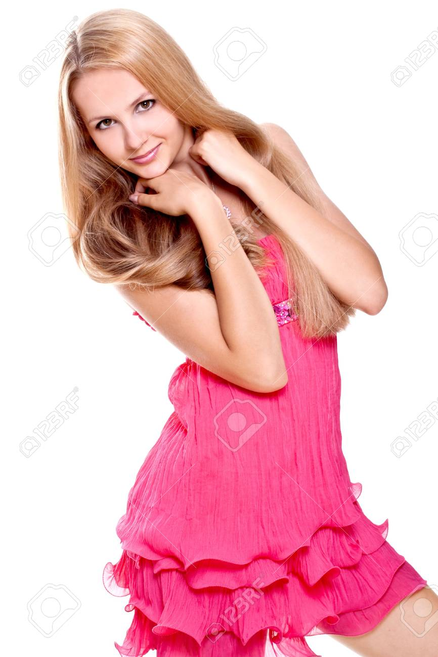 woman in a red dress posing on a white background - 5189399