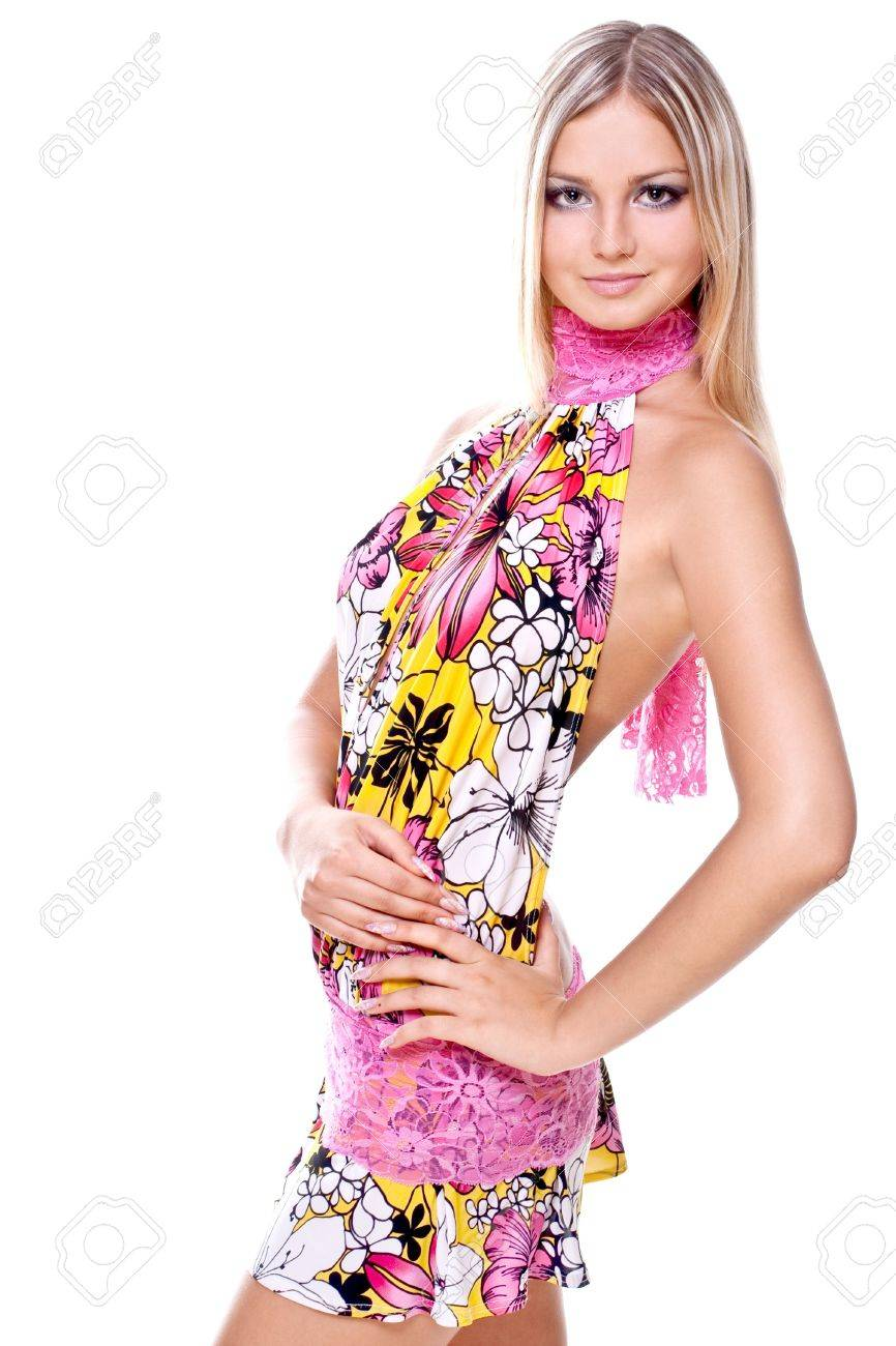 beautiful women in a colored dress on a white background - 5219375