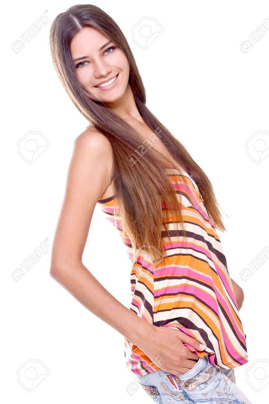 woman in a multicolored shirt posing on a white background - 5389870