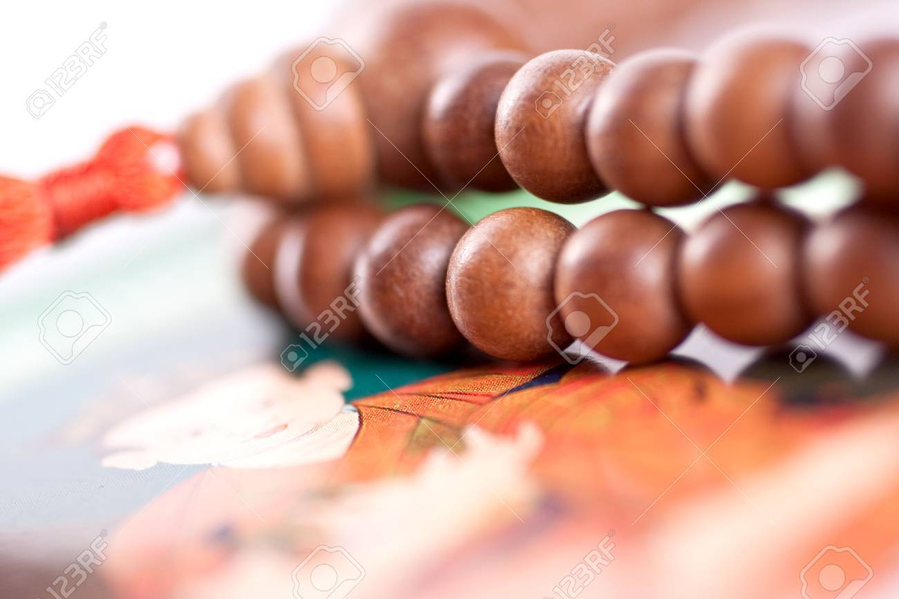 wooden beads are on the picture as a background - 5456349