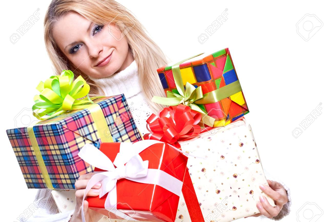 beautiful woman with holiday gift on a white background - 5591609