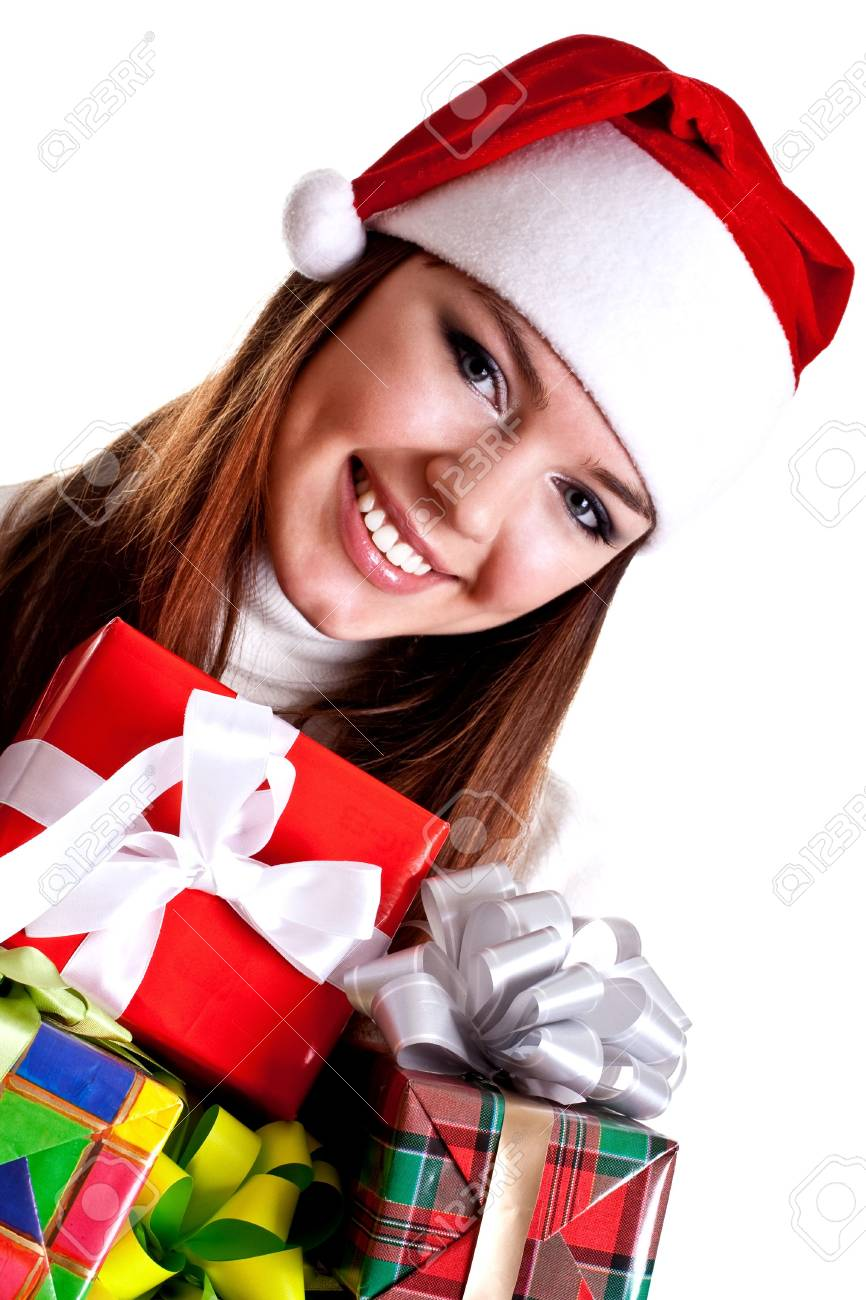 beautiful woman with holiday gift on a white background - 5899405