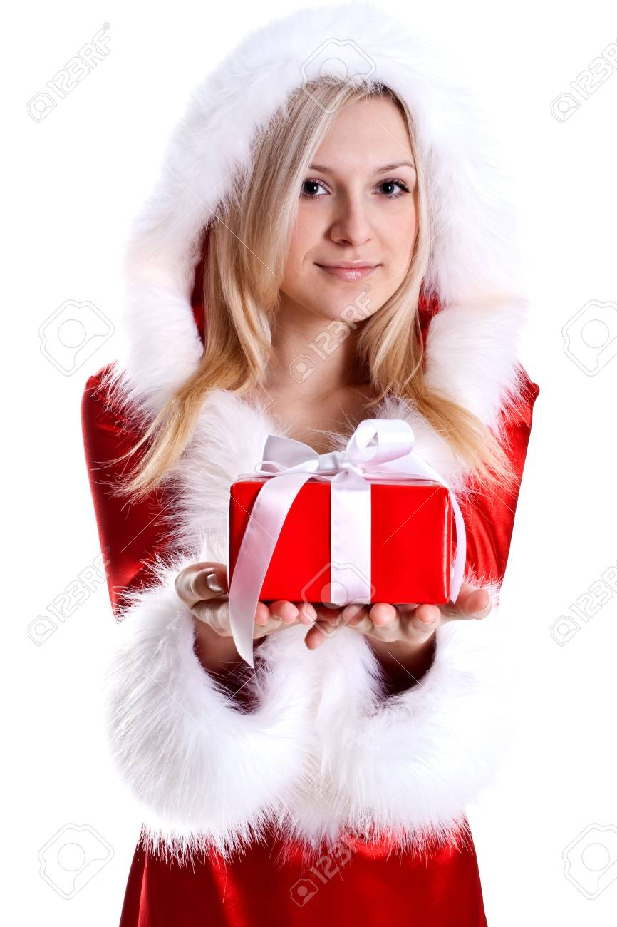 beautiful woman with holiday gift on a white background - 6135456