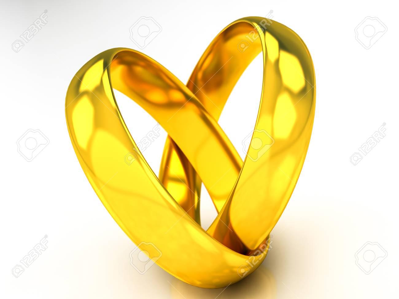 Goldene Hochzeit Ringe Auf Einem Weissen Hintergrund Lizenzfreie