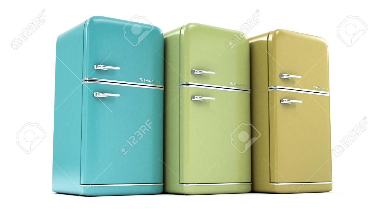Retro Kühlschrank : Retro kühlschrank auf einem weißen hintergrund lizenzfreie fotos