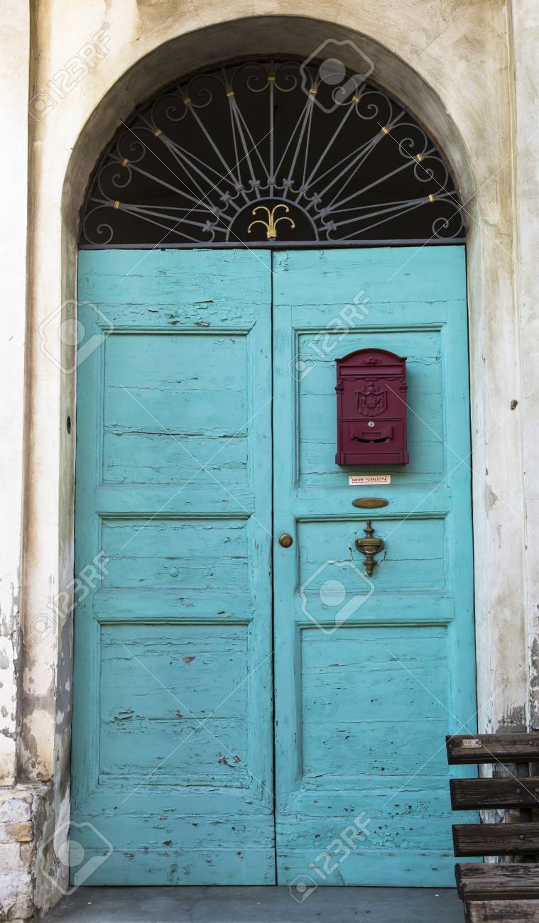 Old Retro Vintage Exterior Door In Old Building Stock Photo Picture
