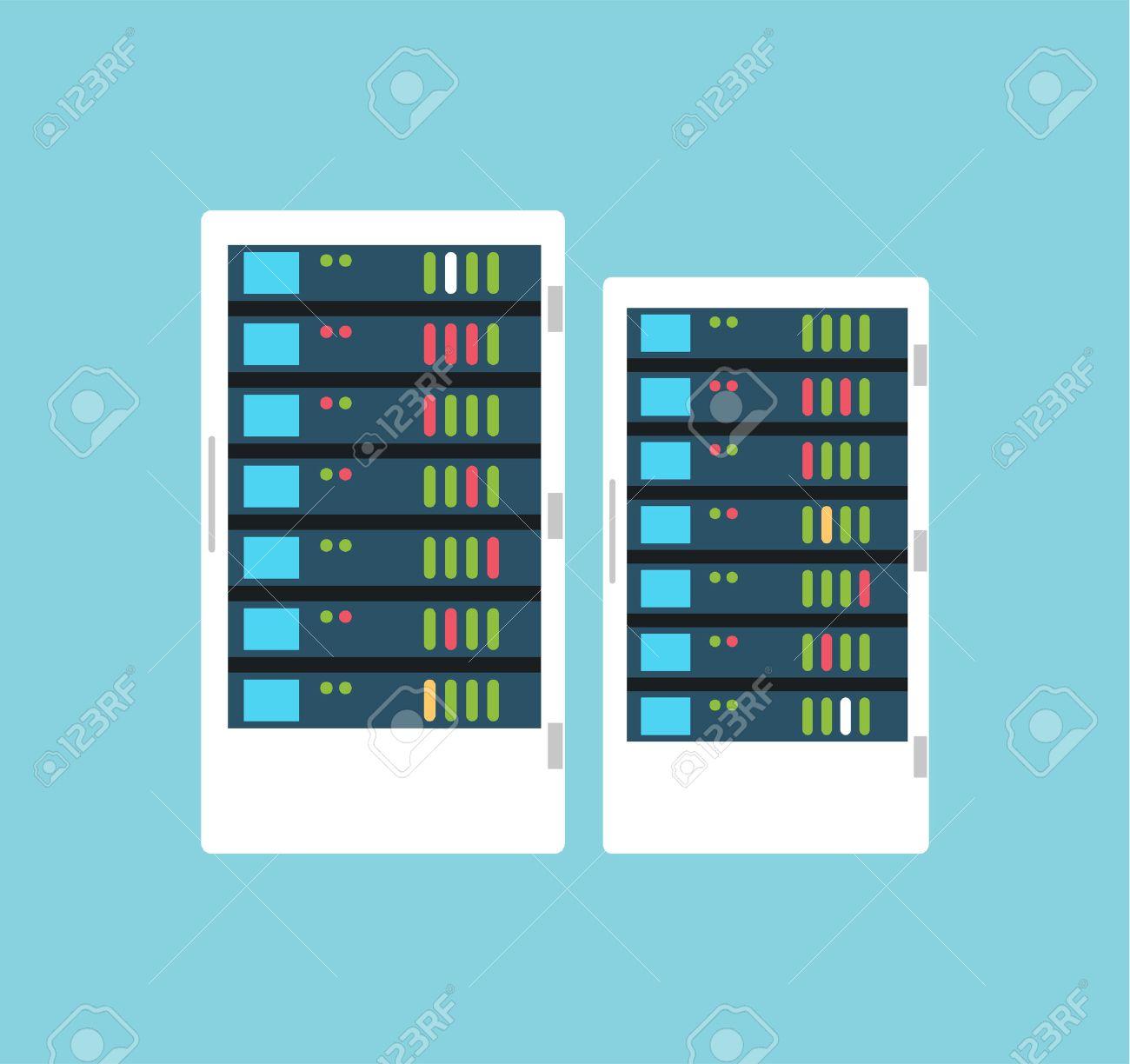 Vector high tech internet data center server  Server vector room