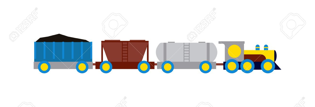 Cartoon transportation train with colorful blocks isolated over