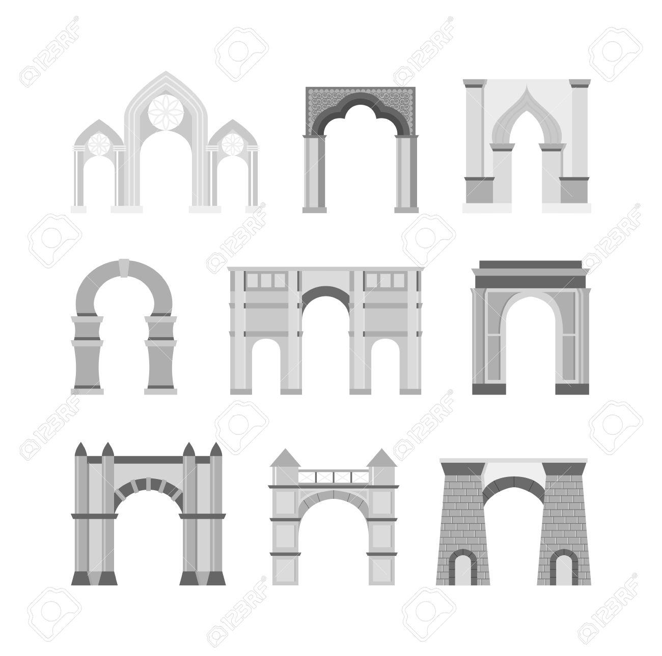 Arco Conjunto De Vectores Y La Arquitectura Antigua Marco De Arco ...