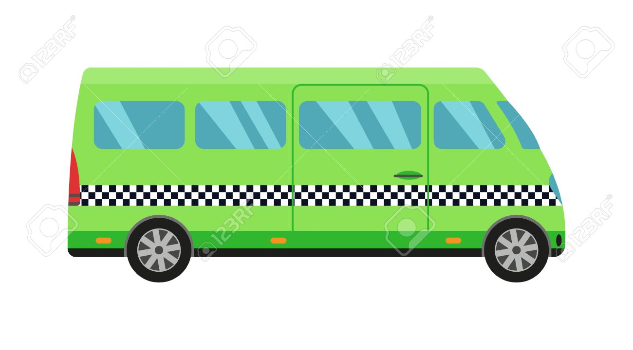 Taxi green bus car isolated on white background  Vector green