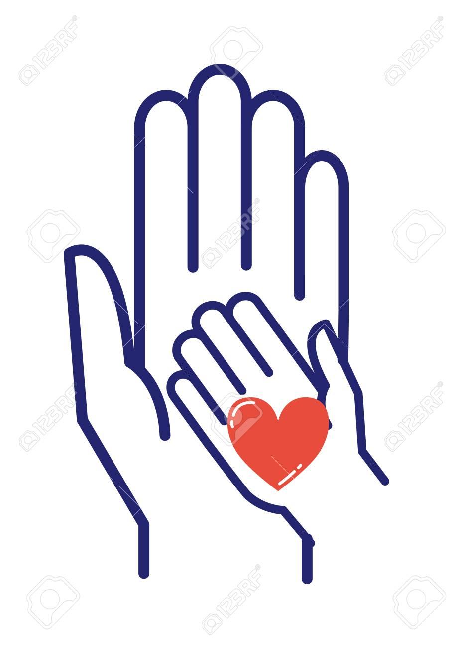 Kinder Pflege Hand Logo Vektor-Illustration. Glückliche Liebe Der ...