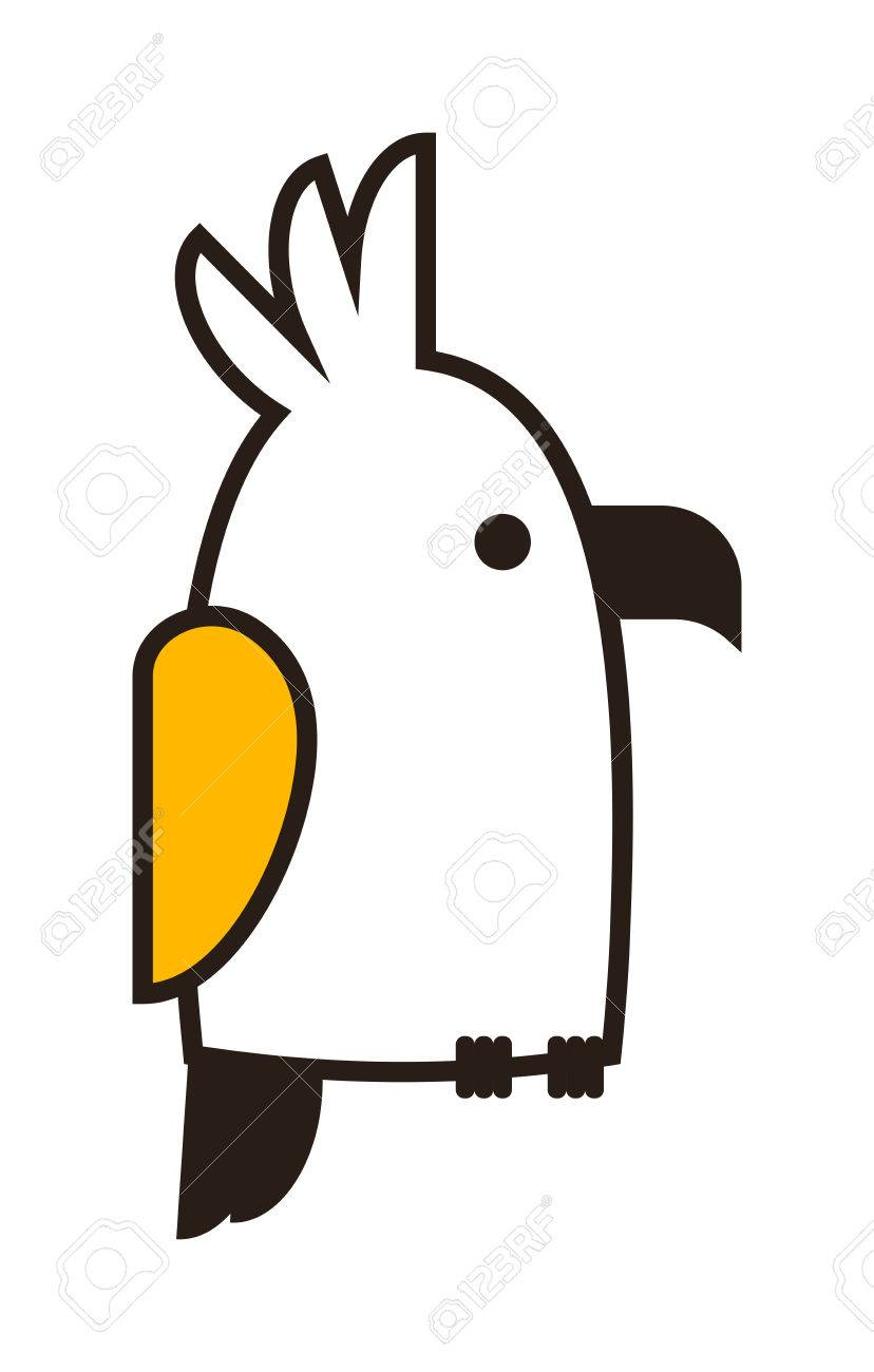 clever speaking outline parrot sits on wooden pole black outline silhouette on white background