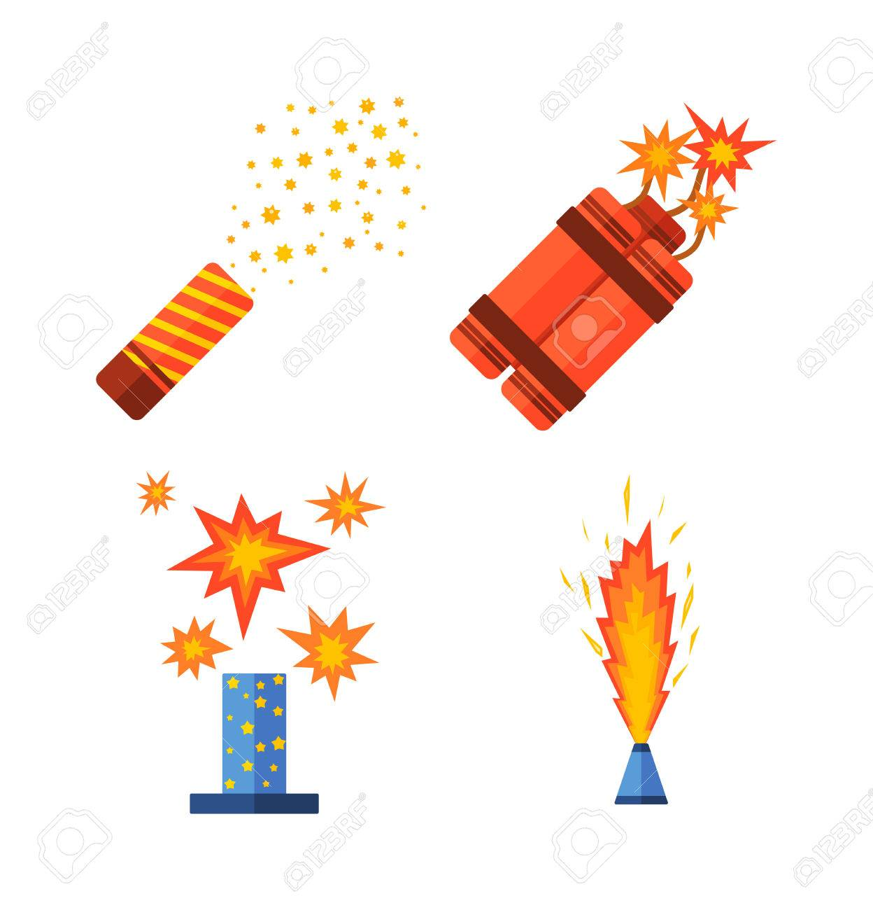 Pirotecnia Y Vector De Los Fuegos Artificiales Ilustracion Del