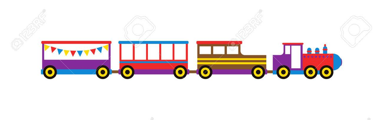 Cartoon Toy Train With Colorful Blocks Isolated Over White And