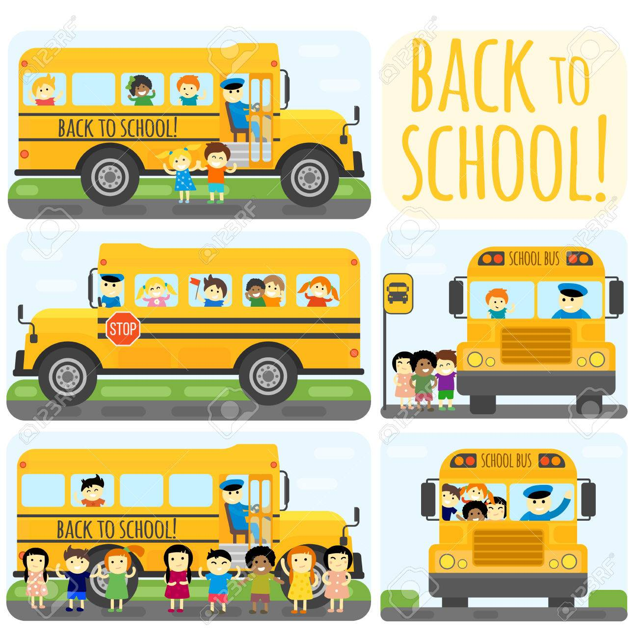 illustration of kids riding yelliw schoolbus transportation