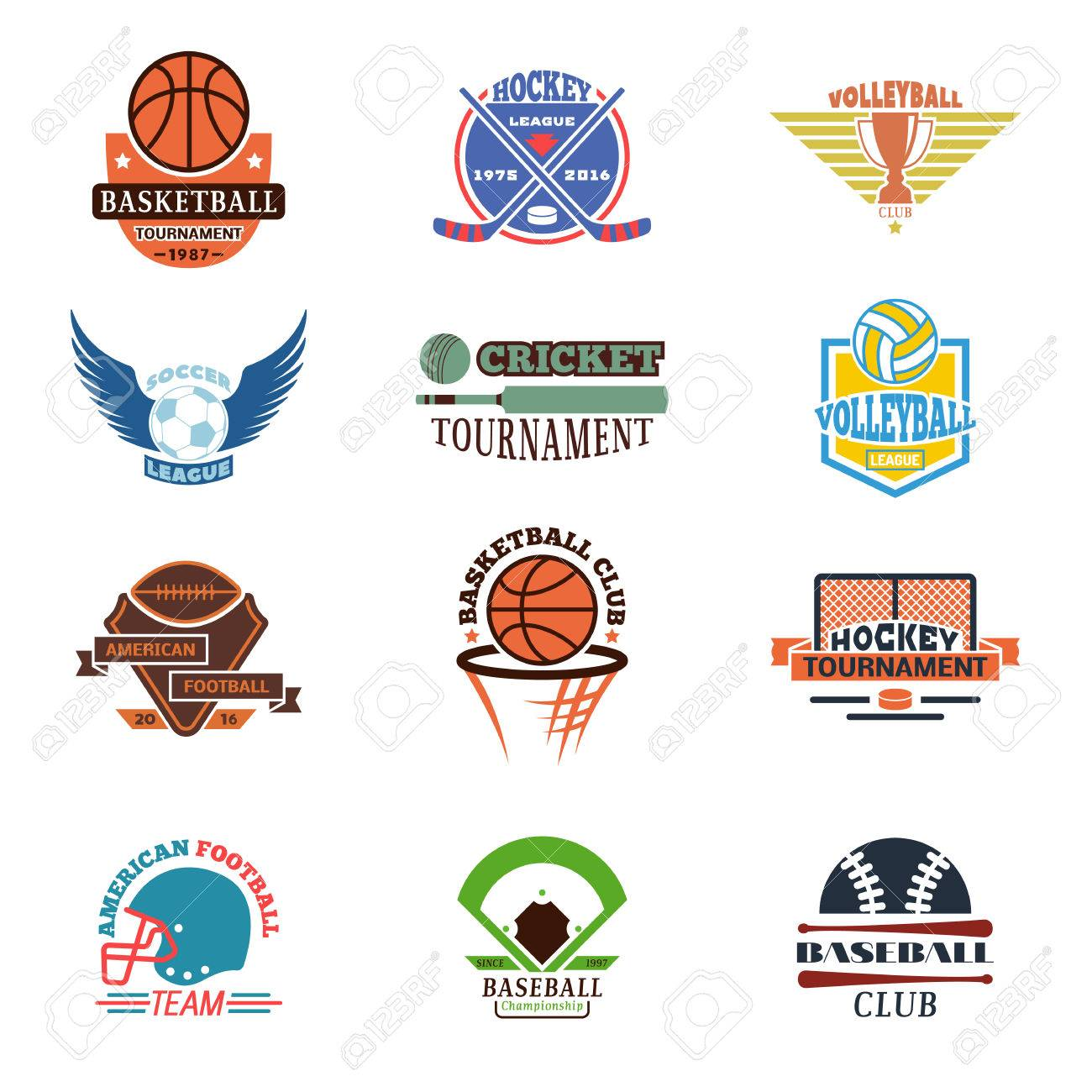 Template Logos For Sports Teams With Different Balls And Symbols