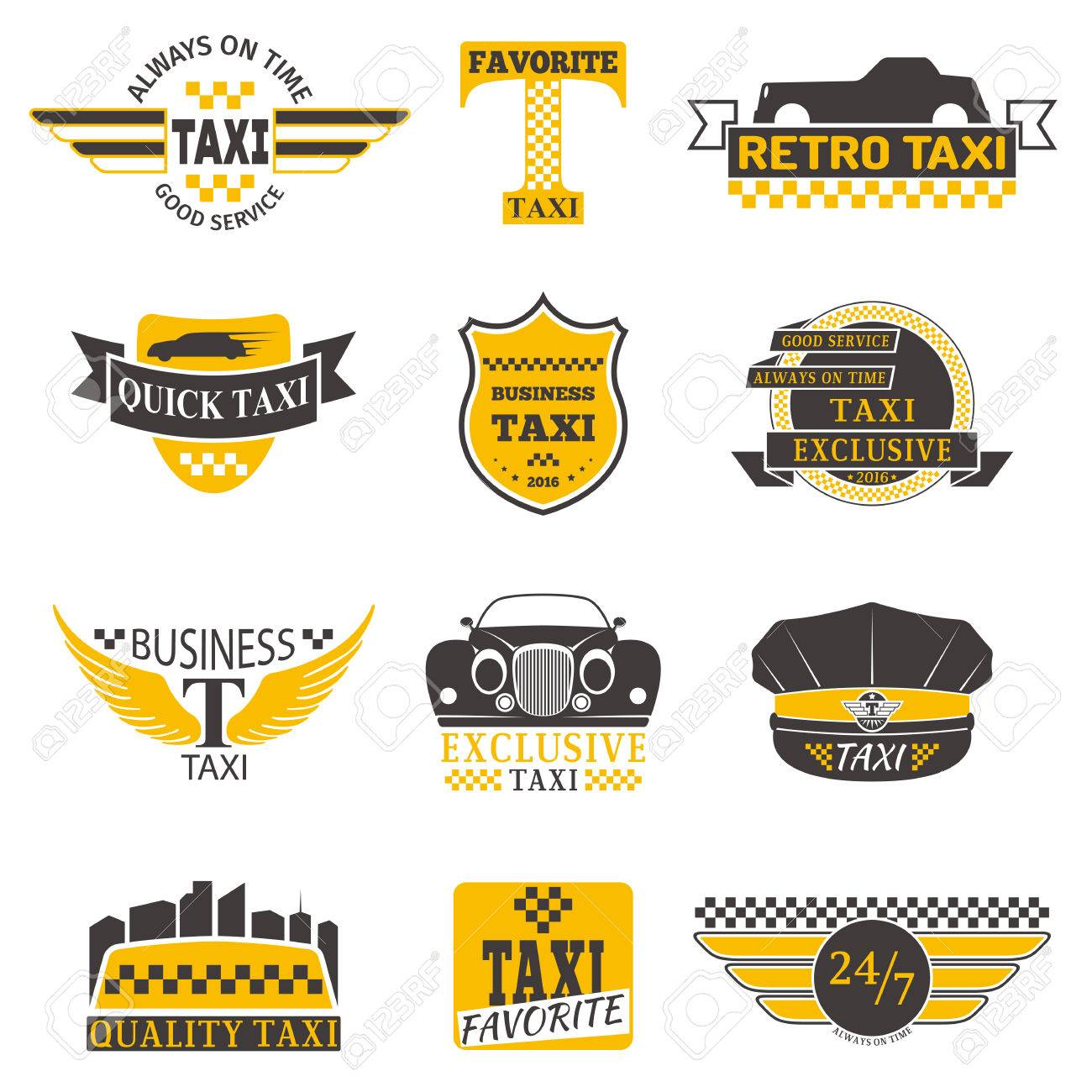 Set Of Vintage And Modern Taxi Logos Taxi Labels Taxi Badges