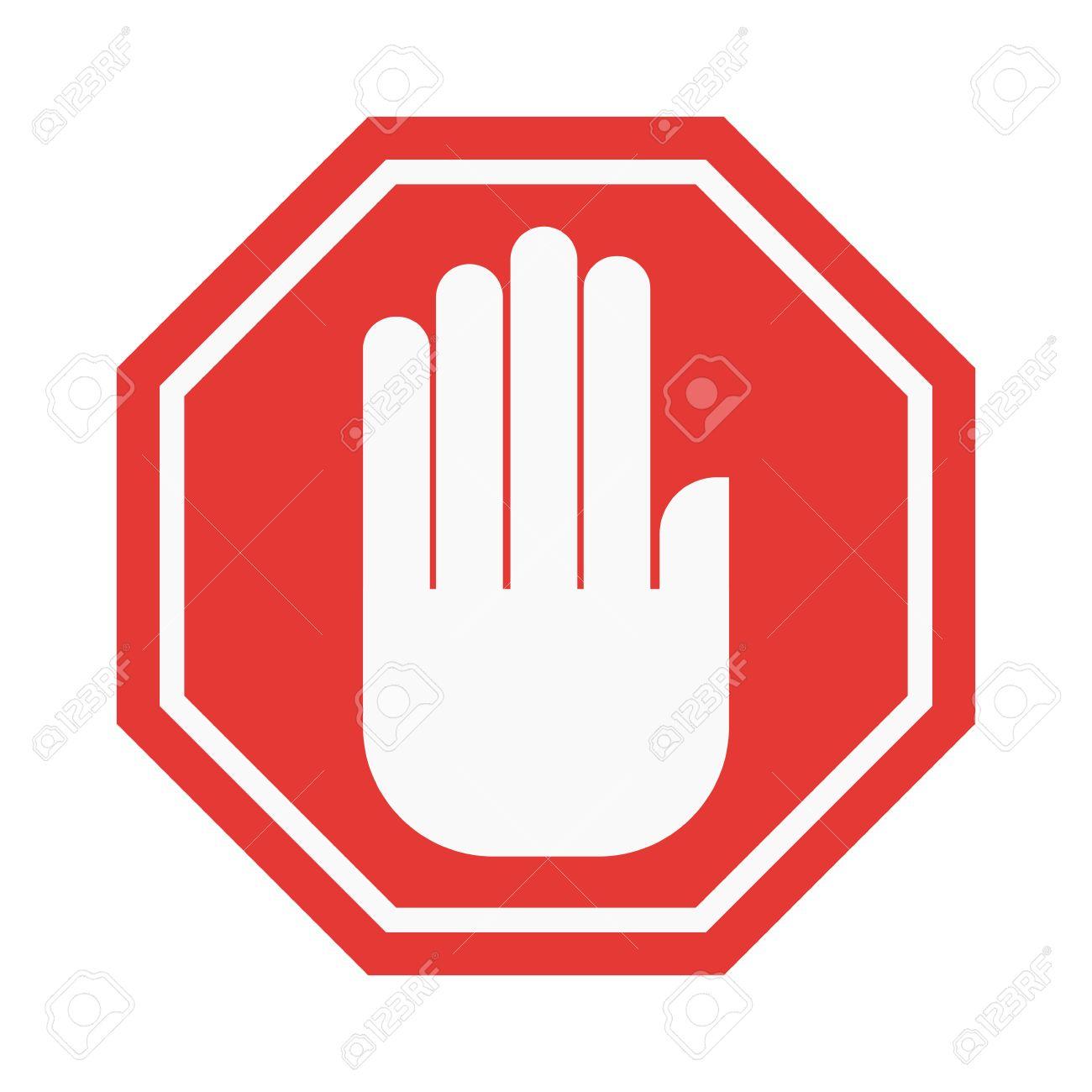 prohibition hand stop sign vector illustration warning danger rh 123rf com stop sign vector png stop sign vector art free
