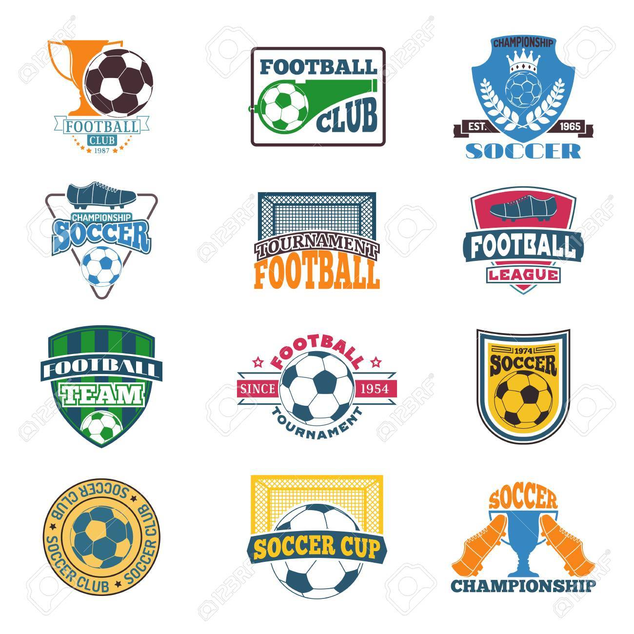 Set Of Soccer Football Badge Logo Design Templates. Sport Team ...
