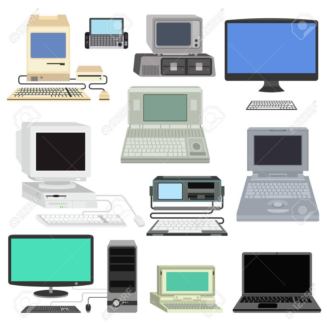 Vector De La Tecnología Informática Establece Pantalla Aislado ...