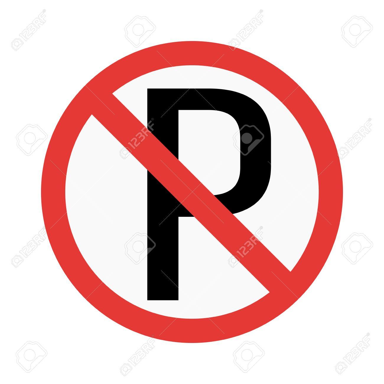 Prohibition P Parking Sign Vector Illustration Warning Danger