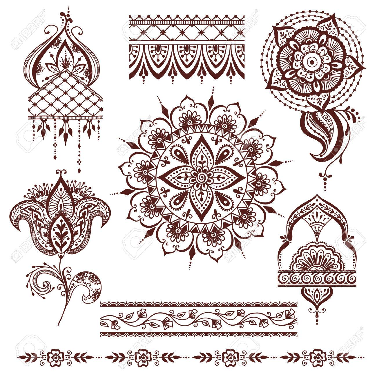 Hand Drawn Henna Abstract Mandala Pattern Flowers And Paisley ...