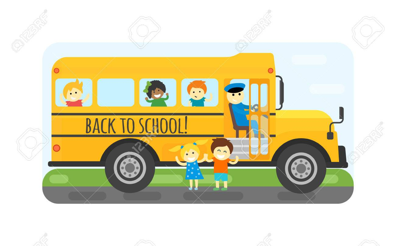 illustration of kids riding yellow schoolbus transportation