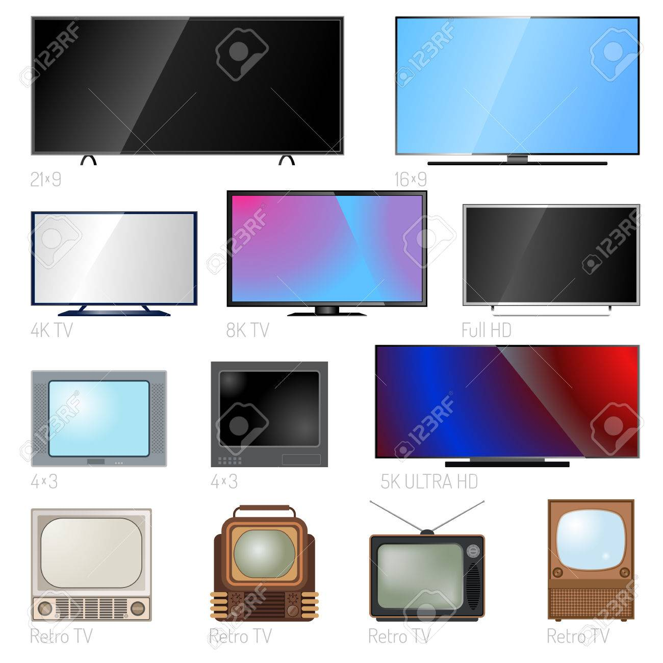 TV screen lcd monitor and notebook, tablet computer, retro templates