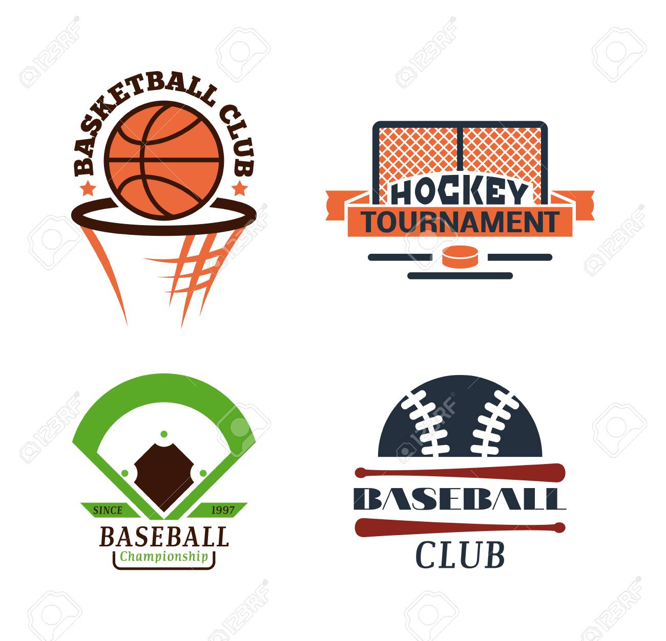 Template For Sports Teams With Different Balls And Symbols