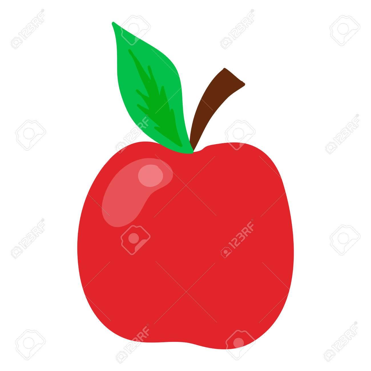 Fresco Icono De La Manzana De Alimentos Orgánicos De Color Rojo ...