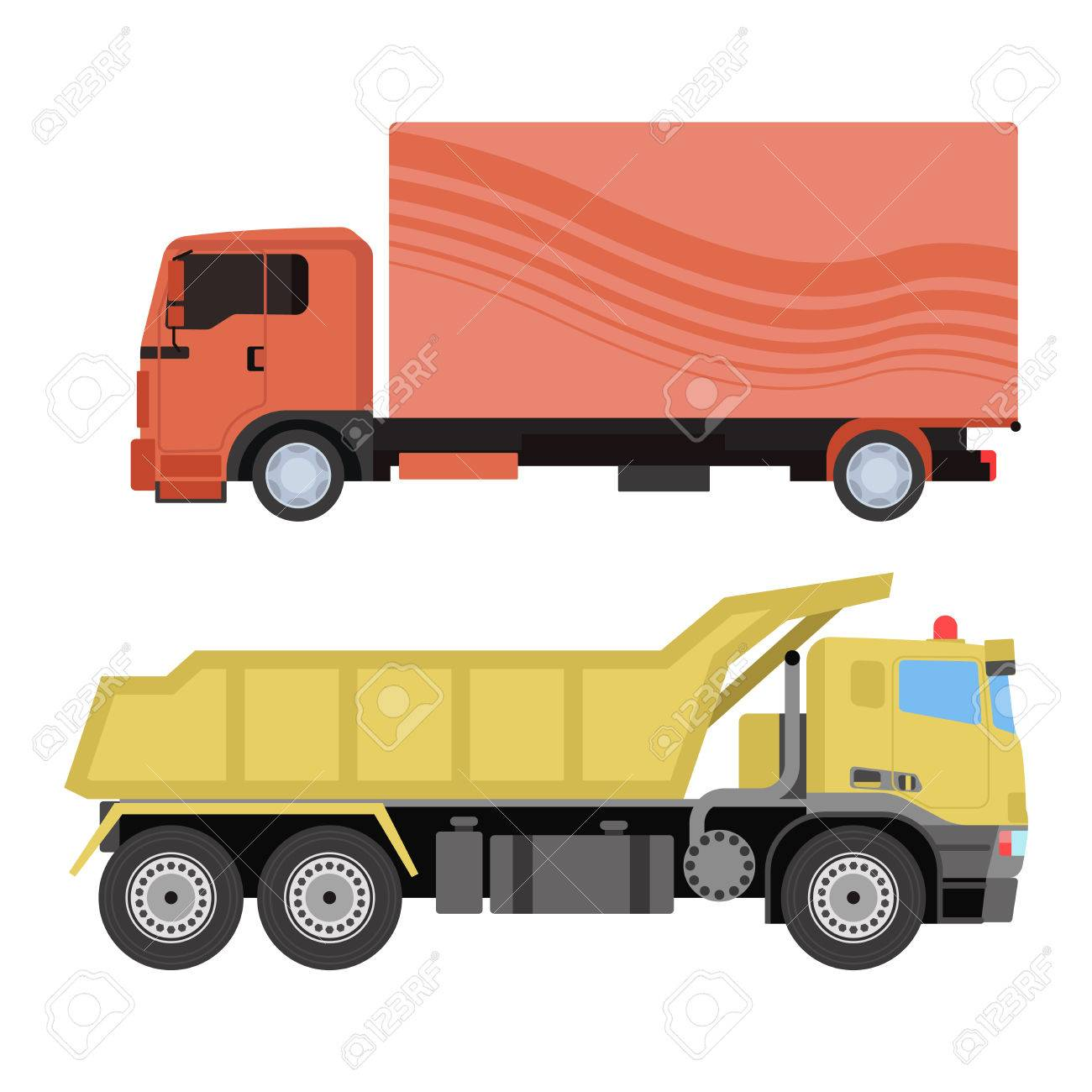 Trucks icons shipping cars vehicles cargo transportation by road