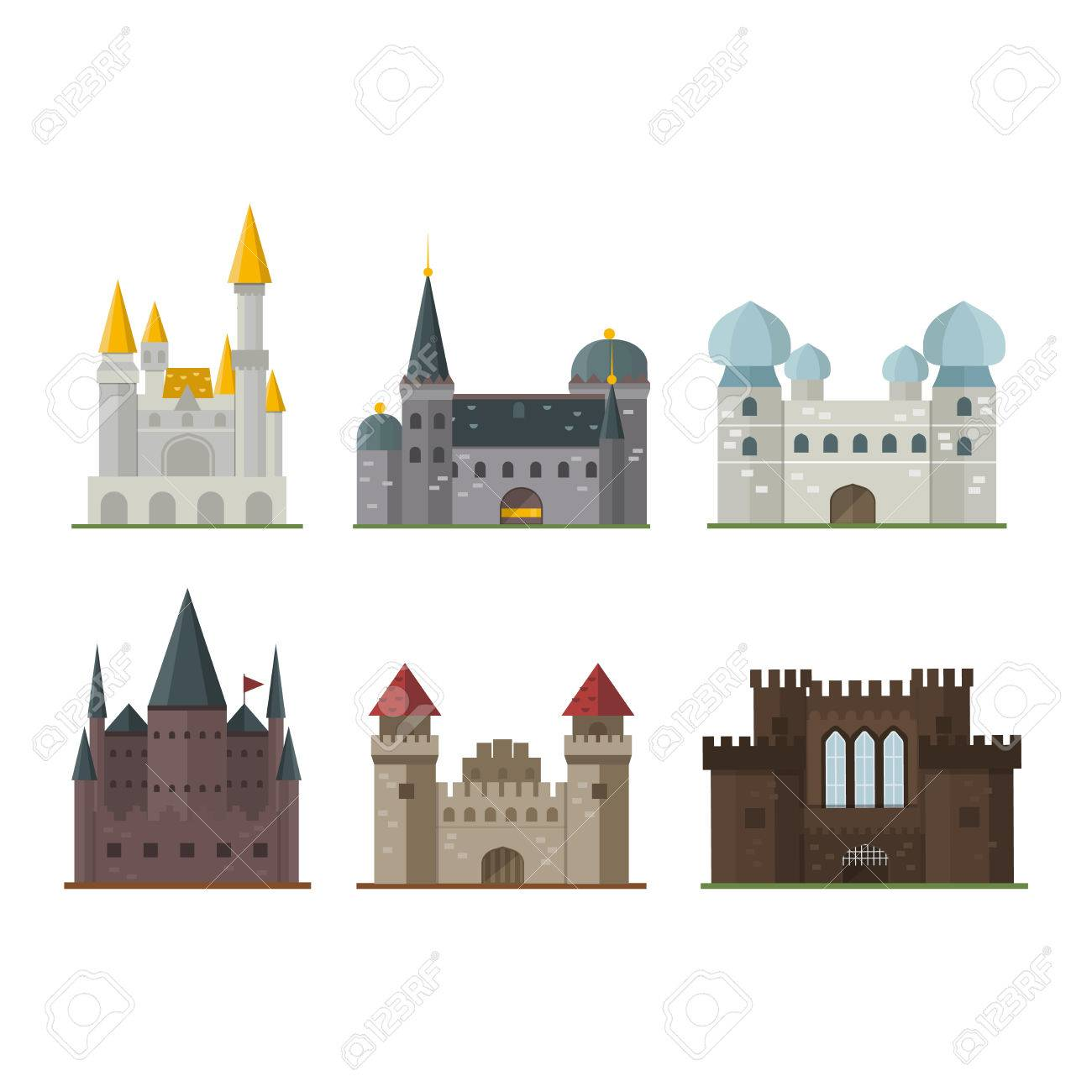 Cartoon fairy tale castle tower icon. Cute cartoon castle architecture. Vector illustration fantasy house fairytale medieval castle. Kingstone cartoon castle cartoon stronghold design fable isolated. - 61211933