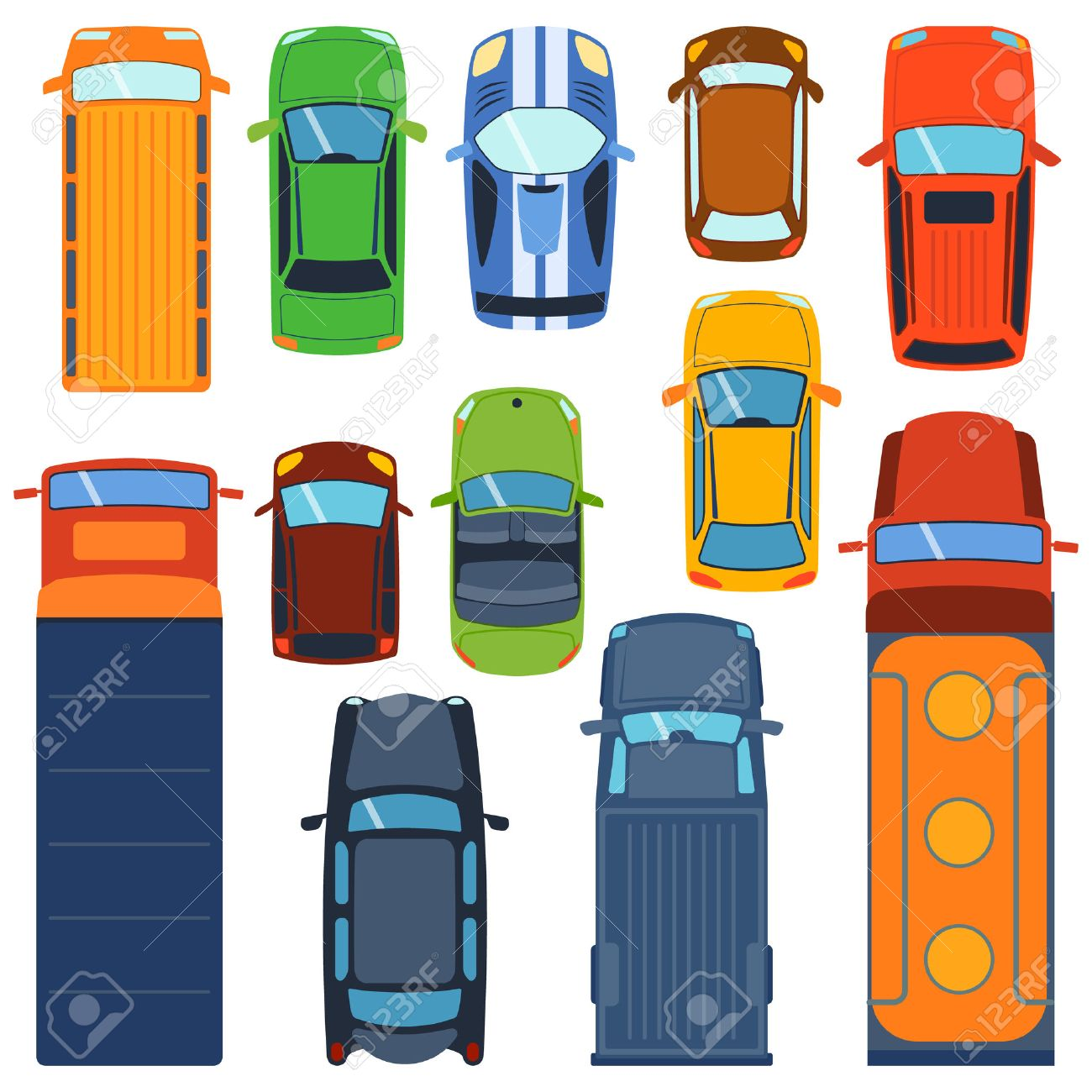 Vector cars icon set. From above car top view. Includes sedan commercial van truck wagon, cabrio, sport car, hatchback vehicles. Transportation vehicle collection design car top view motor van. - 61212068