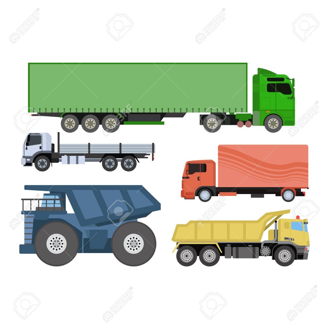 Trucks icons vector shipping cars vehicles cargo transportation