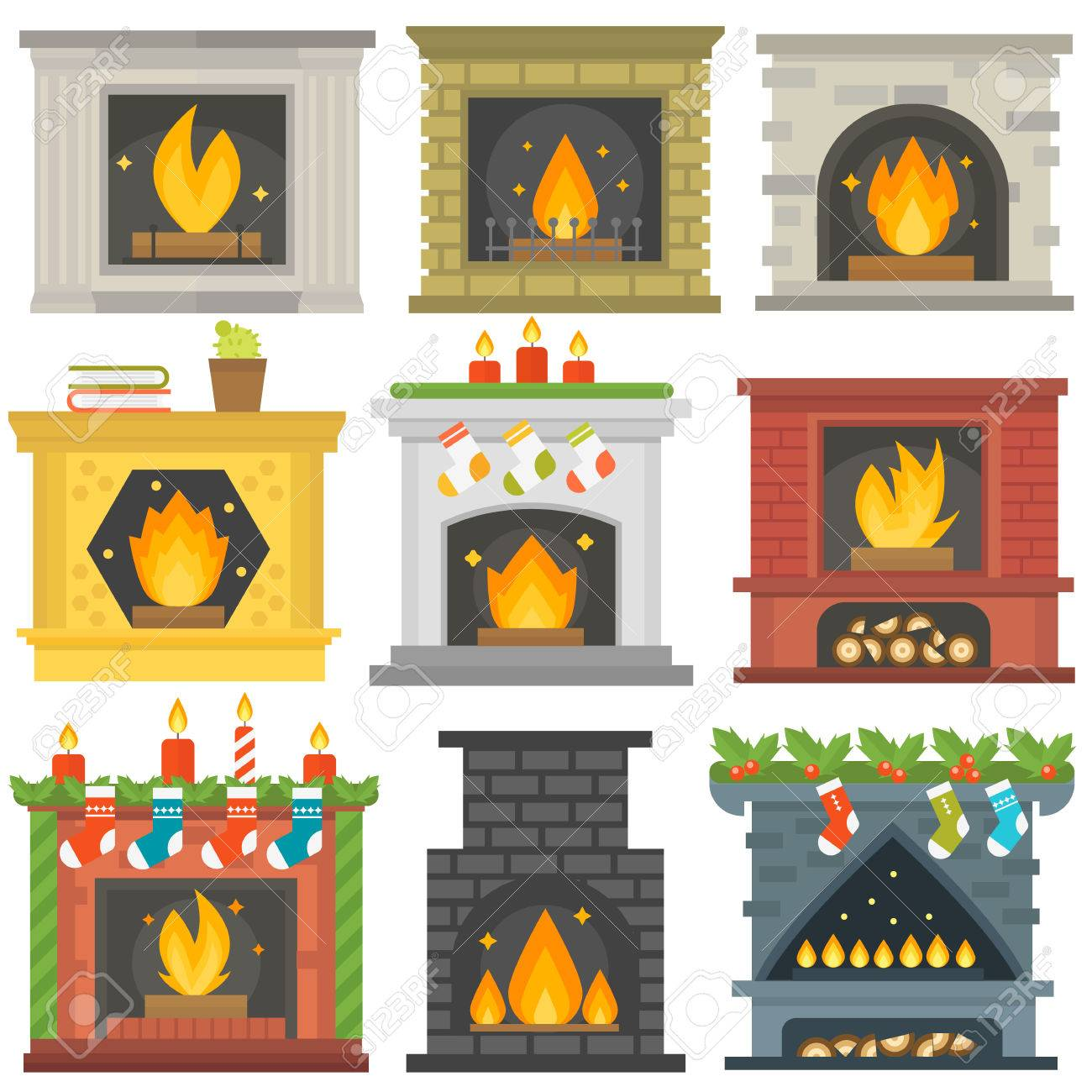 set of vector fireplace icons and fireplace design fireplace