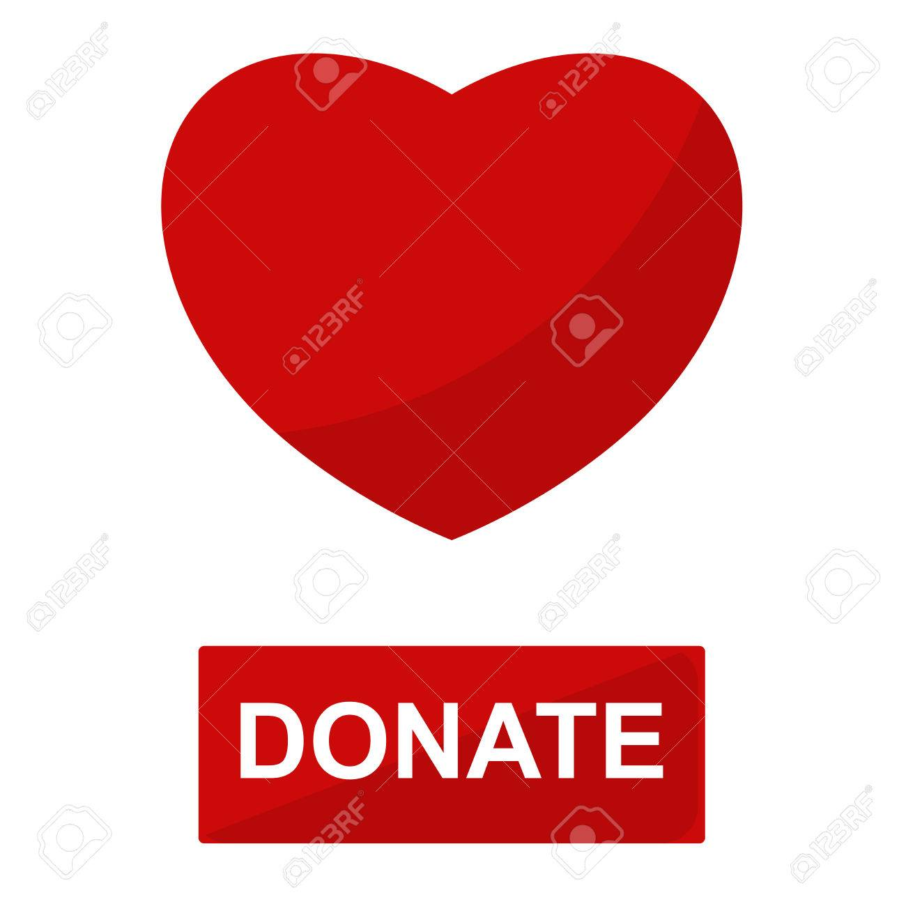 Simple Donate Red Heart Button Vector Icon Color Card Beautiful