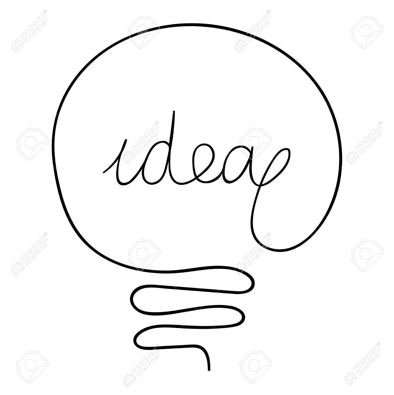 Vettoriale Idea Disegno Lampadina Concetto Creativo Vector Idea